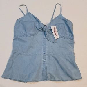 Jessica Simpson tank top tie chest button down